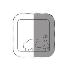 Sticker square silhouette button with contour vector
