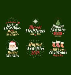 Merry christmas happy new year label set xmas vector