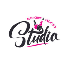 Manicure studio nail master logo beauty vector