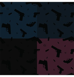 Seamless pattern hand guns four colors vector