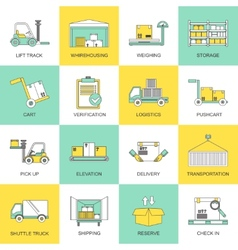 Warehouse icons flat line vector
