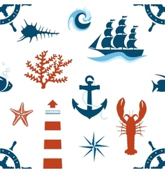 sea theme seamless pattern vector image