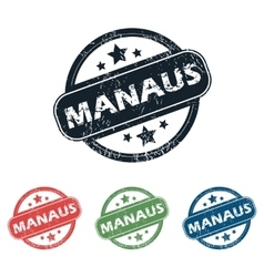 Round manaus city stamp set vector
