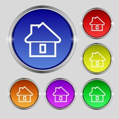 House icon sign round symbol on bright colourful vector