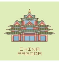 Buddist pagoda white line drawn vector
