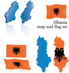 Albania map and flag set vector