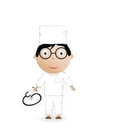 The boy in the medical form and phonendoscope vector