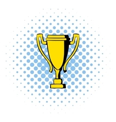 Golden trophy cup icon comics style vector