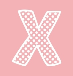 X alphabet letter with white polka dots on pink vector