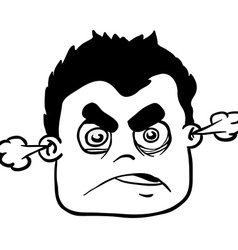 simple black and white angry boy vector image