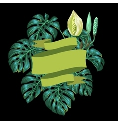 Background with monstera leaves decorative image vector