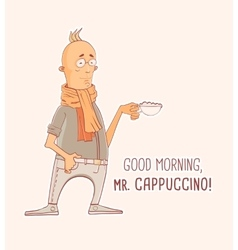 Mister cappuccino coffee vector