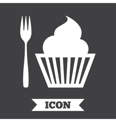 Eat sign icon dessert fork with muffin vector
