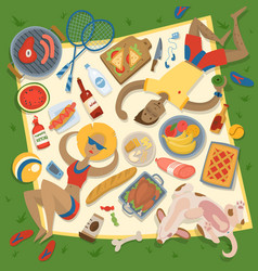 Adult couple man and woman on summer picnic vector