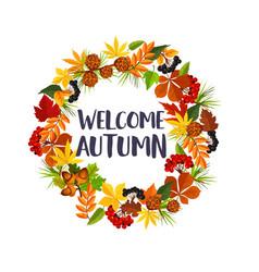 Autumn leaf and rowan berry wreath poster vector