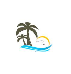 beach and coconut tree logo vector image