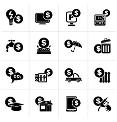 Black payment of bills icons vector image vector image
