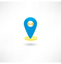 blue gps mark with a car vector image vector image