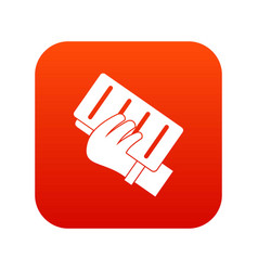brick in a hand icon digital red vector image