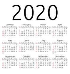 Calendar 2020 sunday vector
