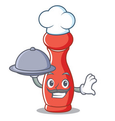 Chef with food pepper mill character cartoon vector