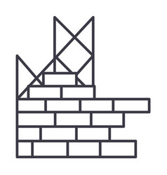construction building brick wall line icon vector image