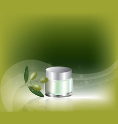 Cosmetic cream with olive oil vector