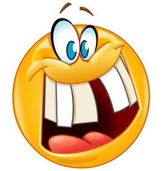 crazy smile emoticon vector image vector image