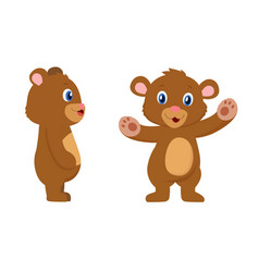 Cute bear cartoon character front and sides view vector
