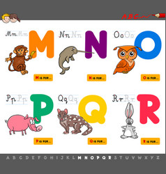 Educational cartoon alphabet letters for children vector