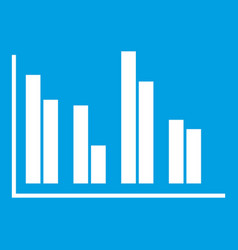 financial analysis chart icon white vector image