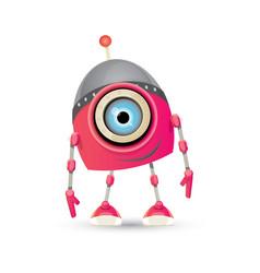 Funny cartoon pink friendly robot character vector