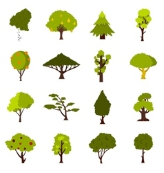 Green tree icons set flat style vector
