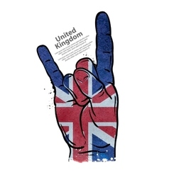 hand gesture cool rock and roll flag of england vector image