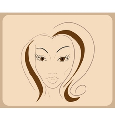 Handdrawn woman face with sensual eyes and brown vector