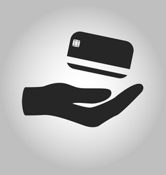 icon hand holding credit card isolated vector image vector image
