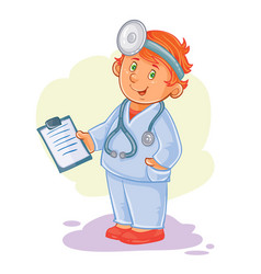 Icon of small child doctor in a medical vector