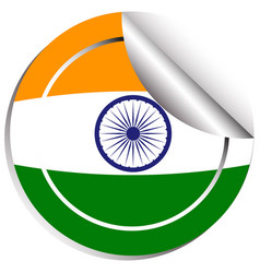 India flag on round sticker vector