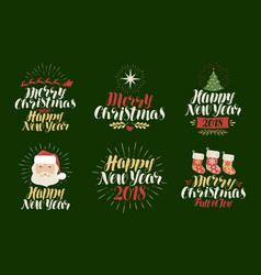 merry christmas happy new year label set xmas vector image