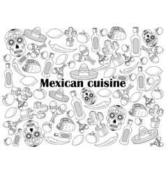 Mexican cuisine colorless set vector image