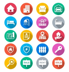 Real estate flat color icons vector image