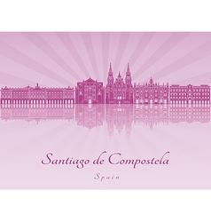 Santiago de compostela skyline in purple radiant vector