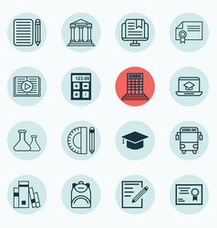 Set of 16 education icons includes transport vector