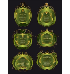 set of green and gold frames vector image vector image