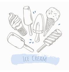 Set of hand drawn different ice cream vector