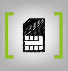 Sim card sign black scribble icon in vector