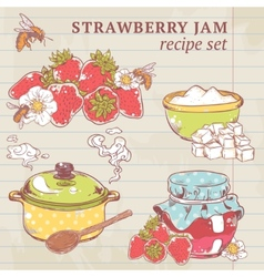 Strawberry jam ingredients vector