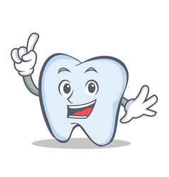 Tooth character cartoon style with one finger vector