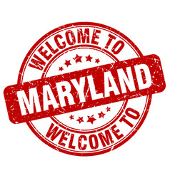 Welcome to maryland red round vintage stamp vector