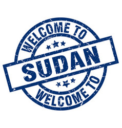 Welcome to sudan blue stamp vector